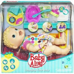 Baby Alive Changing Time Baby - Blonde on Amazing Baby Photo 3347 Baby Alive Doll Clothes, Baby Alive Dolls, Baby Dolls, Little Girl Toys, Baby Girl Toys, Toys For Girls, Baby Life, Baby Doll Diaper Bag, Toddler Christmas Gifts