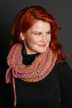 Stay ahead of winter's chill with this head-turning addition to your seasonal wardrobe.  Featured in Vogue Knitting Magazine - Holiday 2009, this versatile cowl/hood embraces you with glorious colour. Knit one in elann Meander yarn. http://international.elann.com/product/elann-meander-yarn-5-ball-bag/
