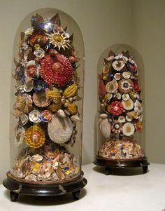 Cloche - Victorian Shell Art Cloches.  My great-aung had a huge one of these in a horse shoe shape and filled with shells and beaded flowers.