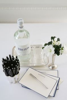 Hildon on a silver tray. The ultimate in classy from Carolyne Roehm!