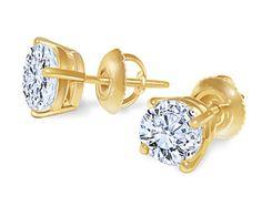 1.80 carat E VVS1 diamond studs earrings by diamondsfromnewyork, $7,450.00