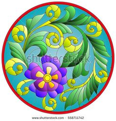 Illustration in stained glass style with abstraction flowers and leaves  round frame