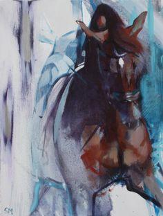 Bay Shadows & Green I by Sally Martin oil over acrylic ~ 9.5inch x 7inch
