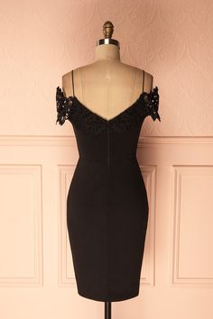 Ramizah - Black off-shoulder fitted cocktail dress