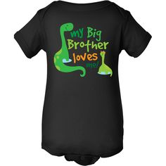 My Big Brother Loves Me dinosaur siblings Baby One Piece T-shirt creeper www.homewiseshopperkids.com