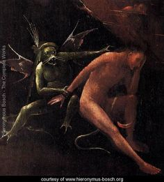 Hell (detail) - Hieronymous Bosch - www.hieronymus-bosch.org Bosch used images of demons, half-human animals and machines to evoke fear and confusion to portray the evil of man.