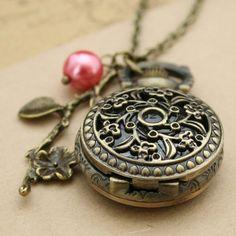 Antique pocket watch flower necklace bronze pendant by luckyvicky