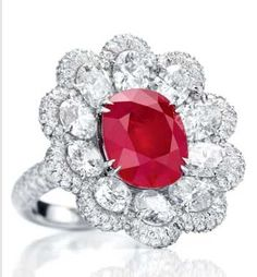 Anna Hu 2009 Series platinum ring set with diamonds and rubies