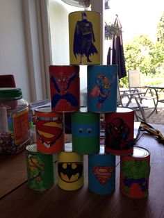 Superhelden blikgooien Superhero Party Games, Superhero Kids, Batman Party, Superhero Birthday Party, 4th Birthday Parties, 5th Birthday, Wonder Woman Party, Gugu, Movie Party