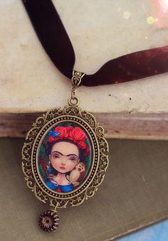 Frida choker necklace - Bold Frida necklace, statement choker, art necklace, Frida Kahlo, wearable art by Meluseena on Etsy https://www.etsy.com/listing/207376223/frida-choker-necklace-bold-frida