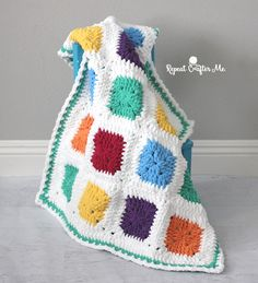 Bright and Bulky Bernat Blanket - Repeat Crafter Me