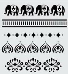 FolkArt ® Handmade Charlotte™ Stencils - Alibaba pattern with elephants