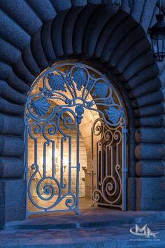 The Secret Entrance to Invalides Station, Paris, France  Wrought iron gate