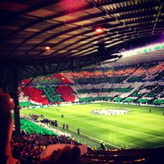 Fan Display at Celtic Park prior to Celtic's UEFA Champions League clash with Barcelona