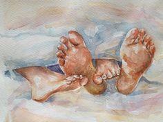 Original watercolor painting 'Happy feet vol2' by SuayaArt