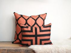 Doha in metallic copper on black organic hemp lumbar pillow cover hand printed by Chanee Vijay
