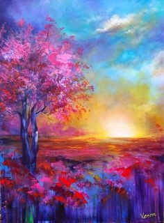 Landscape Painting - Full Of Love by Vesna Delevska Pastel Landscape, Landscape Art, Landscape Paintings, Landscapes, Acrylic Painting Inspiration, Colorful Paintings, Pastel Artwork, Indian Paintings, Amazing Art