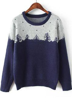Navy Long Sleeve Christmas Tree Pattern Sweater 23.33