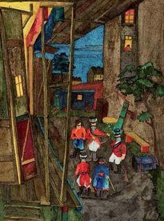 Bluatoper in Ottakring, 1938 Tempera und Aquarell/Papier 37,4 x 28,2 cm verso beschriftet, signiert und datiert Bluatopa Ganglbauergasse - Ottakring W. Jaruska 1938 abgebildet in Wilhelm Jaruska 2019, S. 21, Nr. 34 abgebildet in Wilhelm Jaruska 2020, S. 3, Nr. 6 Find Art, Tempera, World War Two, Beautiful Landscapes, Artist, Painting, Aries, Travel Pictures, Modern Art