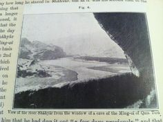 Closeup view of the actual image of the river Shahyar from the window of a cave of the Ming-Oi of Qum Tura from the ASI's official The Bower Manuscript