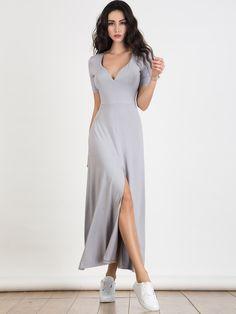 Light Gray Plunge Neck Short Sleeve Split Maxi Dress