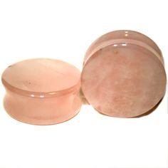 PAIR-Rose Quartz -Organic Flesh Tunnels- Stone Ear Plugs-Ear Gauges-EAR TUNNEL #SoSceneeargauges