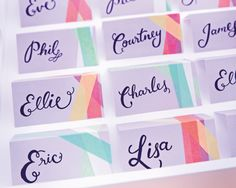 ESCORT CARDS - Take three shades of washi tape and stick them onto a plain escort card, layering each to create a striking gemometric pattern. Choose different colours for male and female guests #weddingideas #escortcards #washitape www.stonegift.com