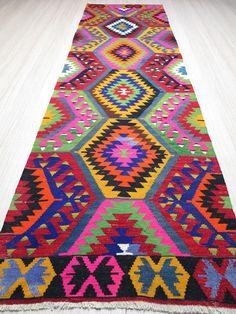 Modern Bohemian Home Decor/ Vintage Handwoven Wool Turkish Kilim Rug Runner Carpet, Area Rug Kelim Carpet