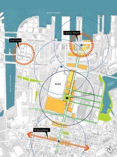 Boston Convention and Exhibition Center D Street Corridor – Sasaki Urban Design Concept, Urban Design Diagram, Urban Design Plan, Urban Architecture, Architecture Student, Architecture Portfolio, Architecture Diagrams, Rendering Architecture, Urbane Analyse