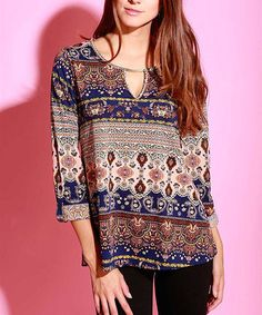 Take a look at this Peach & Navy Arabesque Three-Quarter Sleeve Top on zulily today!