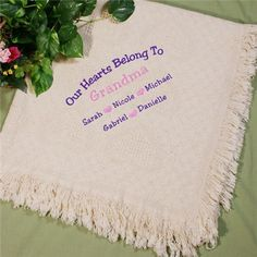 Embroidered Afghan Personalized Throw Blanket for Mom or Grandma this Mother's Day. #personalizedgifts #mother'sdaygifts #embroideredgifts