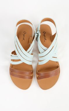Love the simplicity on these pastel strappy sandals. So yummy with a denim outfit! | MakeMeChic.com