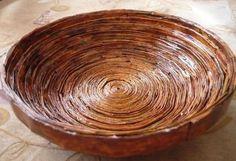 Como fazer cesta com jornal passo a passo | Como fazer em casa Artesanato