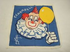 Vintage Childrens Cotton Handkerchief Clarabell Clown Howdy Doody Great Color Howdy Doody, Vintage Clown, Raggedy Ann, Handkerchiefs, Kids Shows, Clowns, Vintage Children, My Childhood, Cute Kids