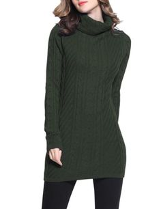Women Warm Turtleneck Long Sleeves Cable Knit Long Sweater Olive Small