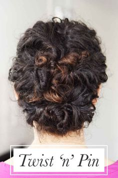 Twist small sections of your hair and pin them up until you've got this lovely updo.