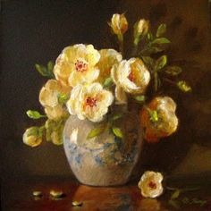 JEANNE ILLENYE - Still Lifes: miniature floral yellow roses blue white jar little gems still life oil painting