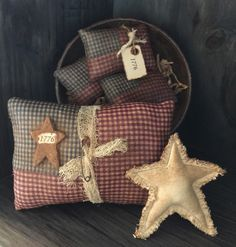 Primitive American Flags and Grubby Star Bowl by Countrybabiesusa