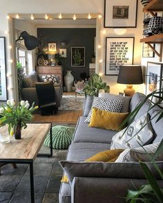 Narrow Living Room, Boho Living Room, Home And Living, Rustic Living Rooms, Cute Living Room, Small Apartment Living, Rustic Room, Living Room On A Budget, Paint Colors For Living Room