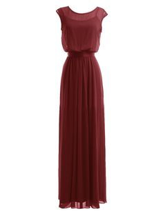Diyouth Long Chiffon Scoop Neck Bridesmaid Dresses Evening Gowns with Belt Burgundy Size 2