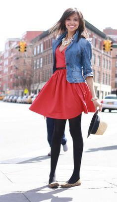 outfits with jean jacket | Red dress and a shrunken jean jacket | Outfits