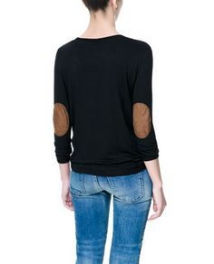 ZARA - TRF - LOOSE KNIT T-SHIRT WITH ELBOW PATCHES