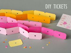 Since I am a little bit (completely) obsessed with bees, I jumped at the chance to do a 'Bee Mine' themed party for Valentine's Day! Festa Party, Diy Party, Party Ideas, Party Tickets, Carnival Tickets, Diy Carnival, Carnival Birthday, Carnival Games, Carnival Invitations
