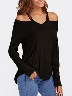 Halter Plain Long Sleeve T-Shirts - Trendy Outfits White Blouse With Bow, Black Blouse, Best Formal Dresses, Nice Dresses, Gebleichte Shirts, Long Shirts, Urban Outfits, Fashion Outfits, Trendy Outfits