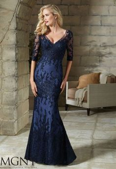 Shop Morilee's Beaded Embroidery on Net Evening Dress. Evening Gowns and Mother of the Bride Dresses by Morilee. Beaded Evening Gown/Mother of the Bride Dress Embroidery on Net Lace Evening Dresses, Elegant Dresses, Evening Gowns, Beautiful Dresses, Lace Dress, Dress Up, Evening Party, Mother Of Groom Dresses, Bride Groom Dress