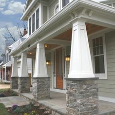 Love the front porch! craftsman tapered columns with stone, cornices, no railing, bluestone porch, green siding with stone veneer Anthony Street House - Robert Nehrebecky Craftsman Columns, Craftsman Style Exterior, Craftsman Porch, Craftsman Bungalows, Exterior House Colors, Exterior Design, Craftsman Houses, Exterior Siding, Exterior Remodel