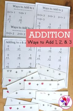 Free Addition: Ways to Add 1, 2, 3 - fun math printables that work on learning to add up to a number and the set starts with adding to 1, 2 and 3 - 3Dinosaurs.com #addition #firstgrade #kindergarten #learningaddition #waystoadd #3dinosaurs #freeprintable Subtraction Activities, Math Activities For Kids, Number Activities, Math For Kids, Worksheets For Kids, Tools For Teaching, Teaching Math, Homeschool Math, Homeschooling