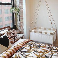 Modern Nursery Reveal - Hanging Cradle by Hussh Cradles - Bootaboot Hanging Cradle, Having A Baby, Bassinet, Toddler Bed, Nursery, Photo And Video, Interior Design, Bedroom, Videos