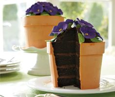 The perfect cake for a gardener, florist or person who likes awesome cakes. It actually sounds pretty nom nom too. A velvety-rich five-layer chocolate devil's food cake with chocolate-caramel truffle cream filling and <a