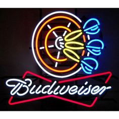 BUDWEISER DARTS NEON wide, deep Darts is a pub staple. Celebrate the tradition with our Budweiser Darts Neon Sign, featuring multi-colored, hand blown tubing supported on a black, finished metal grid. Neon Bar Signs, Neon Light Signs, Electric Signs, Neon Words, Neon Clock, Pin On, Beer Signs, Custom Wood Signs, Business Signs